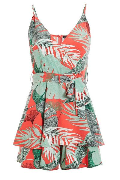 Green and Coral Tropical Print Playsuit