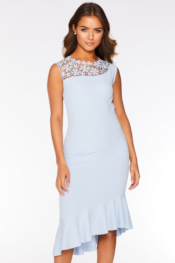 Pale Blue Crochet Asymmetric Frill Hem Dress
