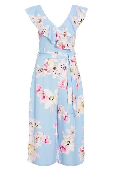 Pale Blue Floral Culotte Jumpsuit