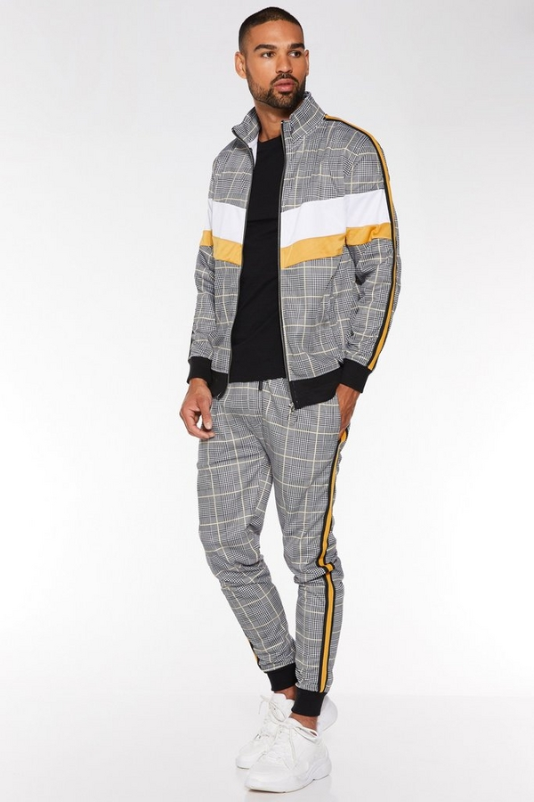 Check Pant with Side Tapping in Mustard