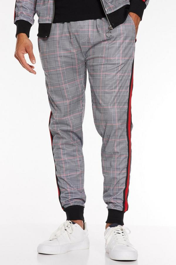 Check Pant with Side Tapping in Red