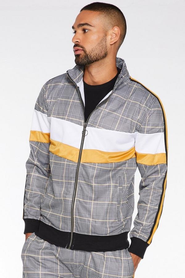 Mustard Colour Block Check Jacket