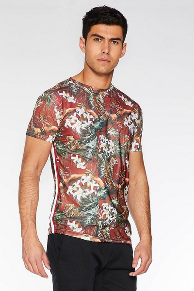 Floral Animal Print T-Shirt with Side Tape