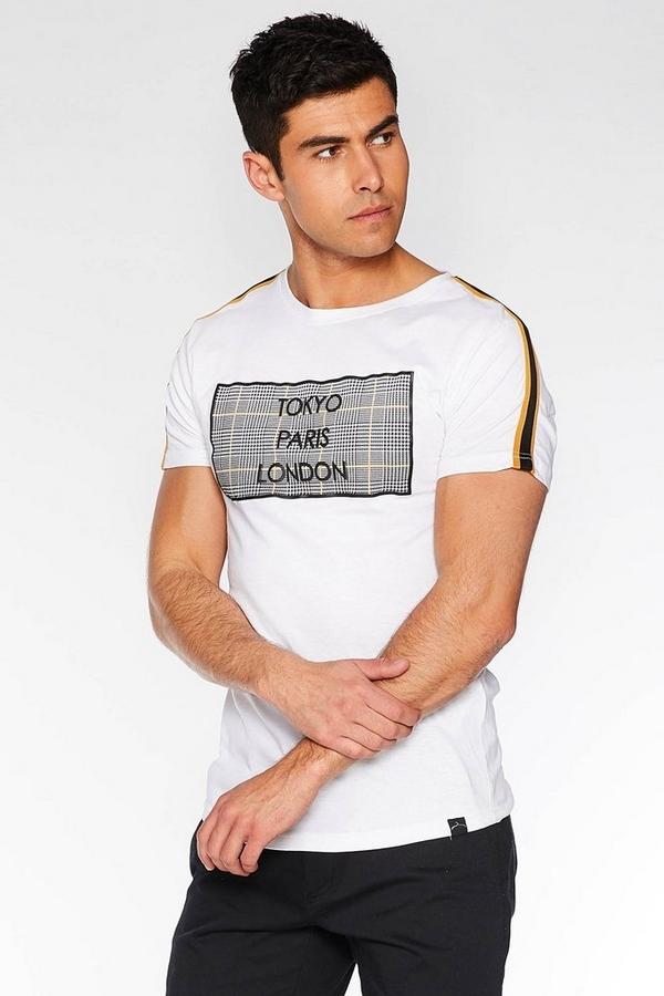 City Slogan T-Shirt in White with Taped Sleeves