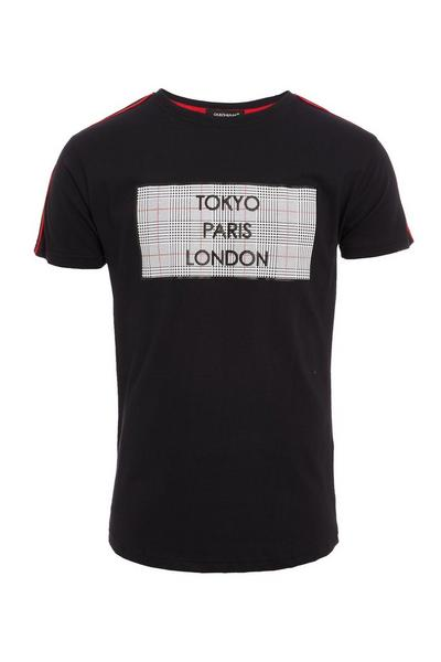 City Slogan T-Shirt in Black with Taped Sleeves