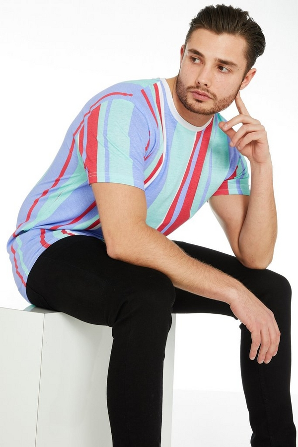 Mint Vertical Striped T-Shirt