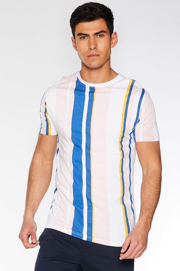 Pink Vertical Striped T-Shirt