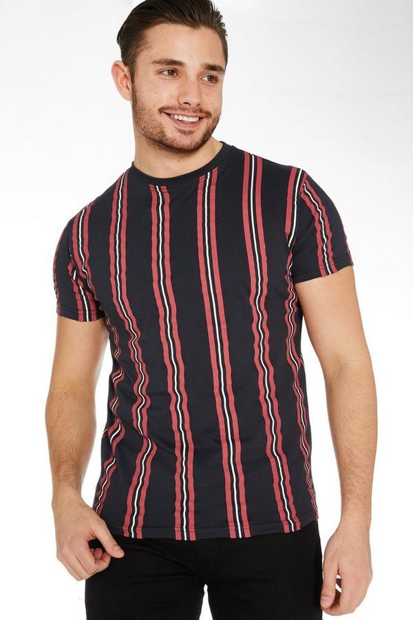 Navy Vertical Striped T-Shirt