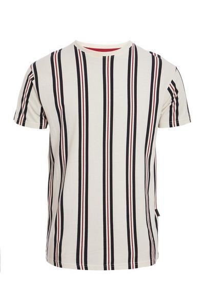 Ecru Vertical Striped T-Shirt