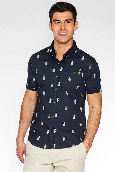Navy Slim Fit Pineapple Print Shirt