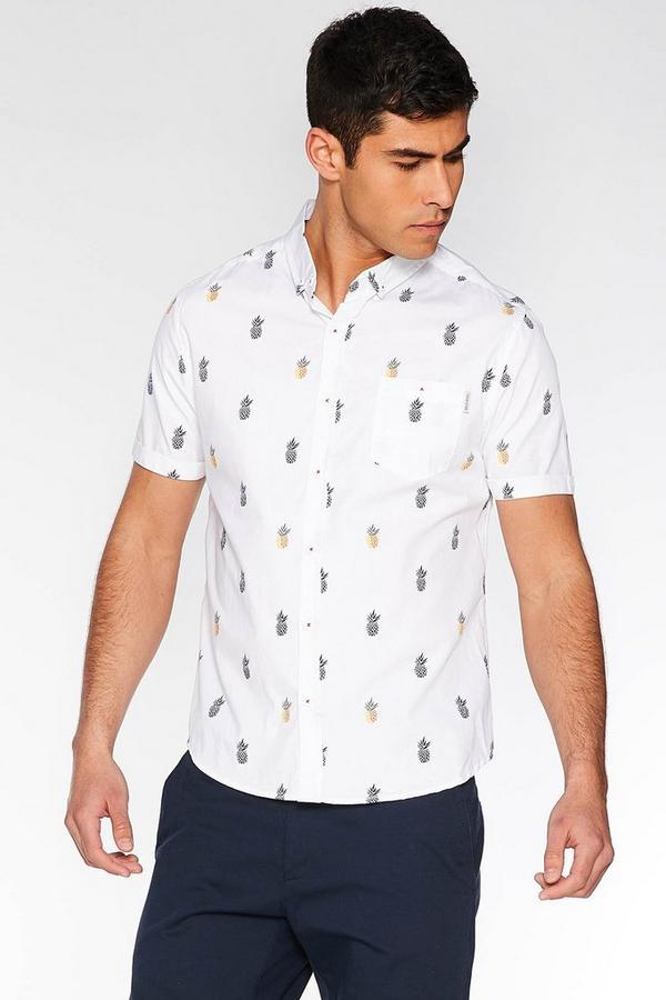 White Slim Fit Pineapple Print Shirt