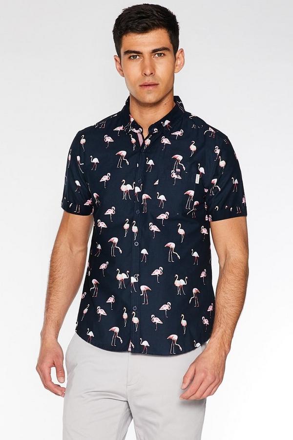 Navy Slim Fit Flamingo Print Shirt