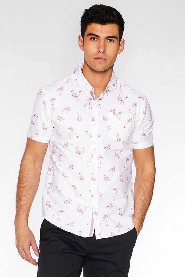 White Slim Fit Flamingo Print Shirt