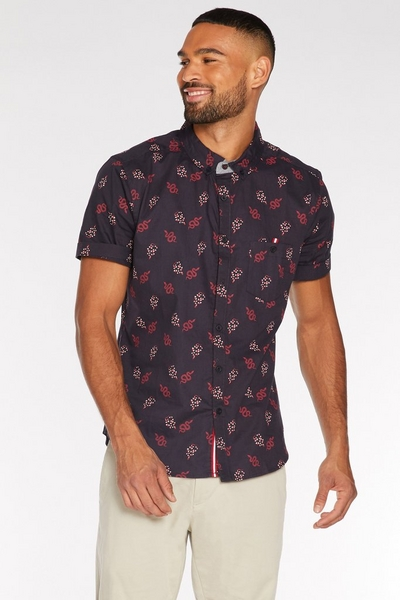 Short Sleeve Snake Print Shirt in Navy