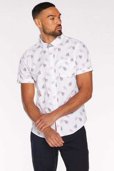 Short Sleeve Snake Print Shirt in White