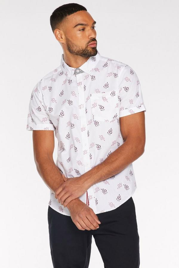 Short Sleeve Snake Print Shirt in White