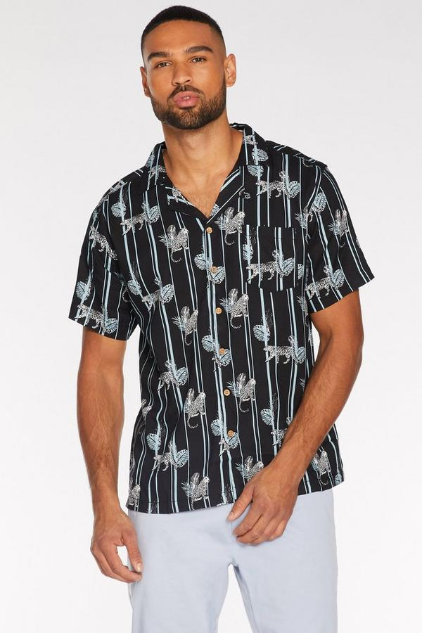 Short Sleeve Striped Tropical Shirt