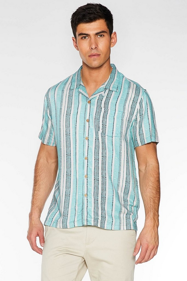 Short Sleeve Revere Collar Aztec Shirt in Mint