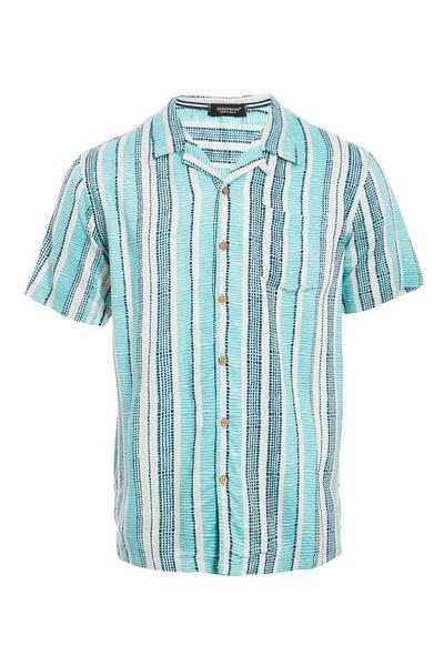 Short Sleeve Revere Collar Aztec Shirt in Mint