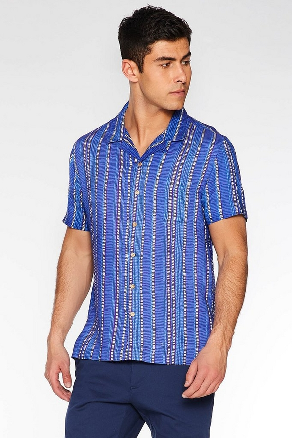Short Sleeve Revere Collar Aztec Shirt in Purple