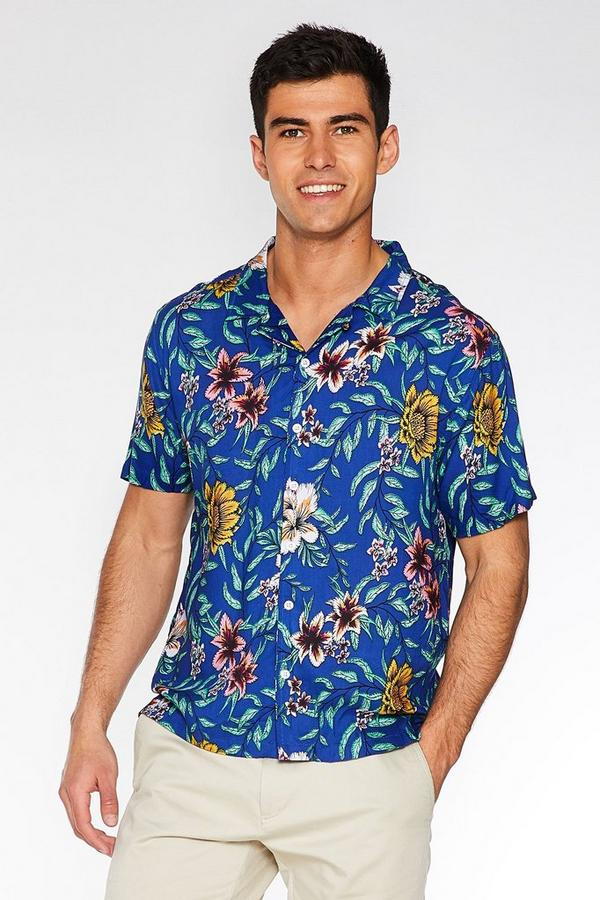 Navy Floral Revere Collar Shirt