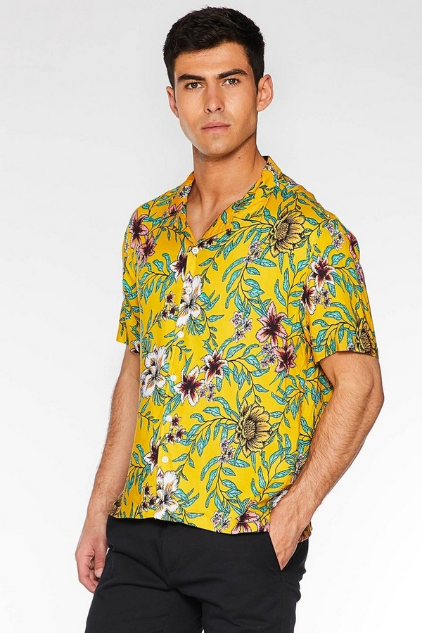Yellow Floral Revere Collar Shirt