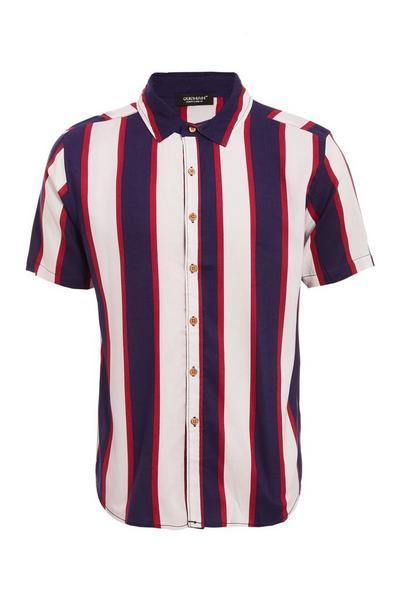 Short Sleeve Viscose Striped Shirt