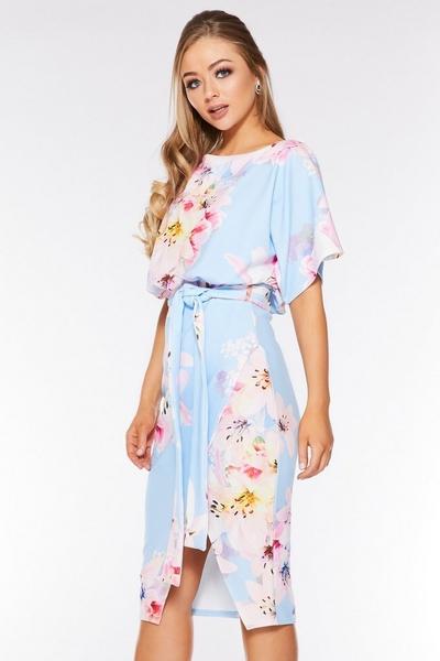 Pale Blue Floral Print Batwing Dress