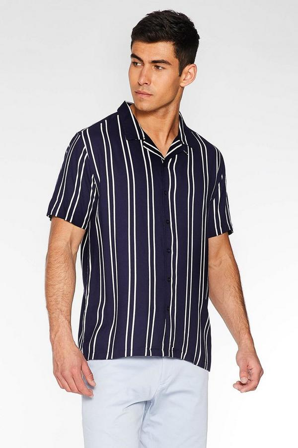 Navy Striped Revere Collar Shirt