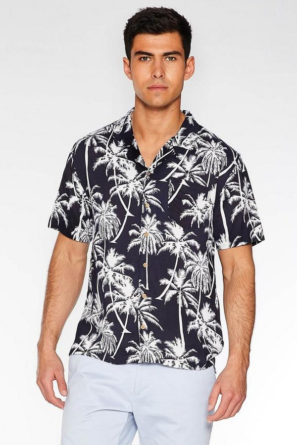 Navy Revere Collar Palm Print Shirt