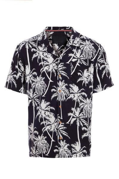 Navy Revere Collar Palm Print Shirt