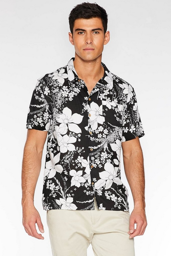 Black Revere Collar Floral Shirt