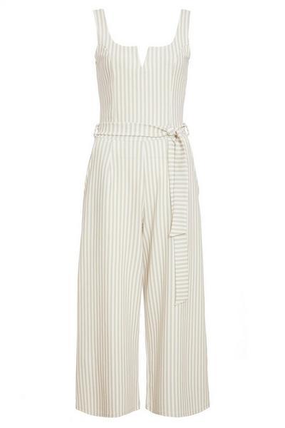 Stone And Cream Stripe Culotte Jumpsuit