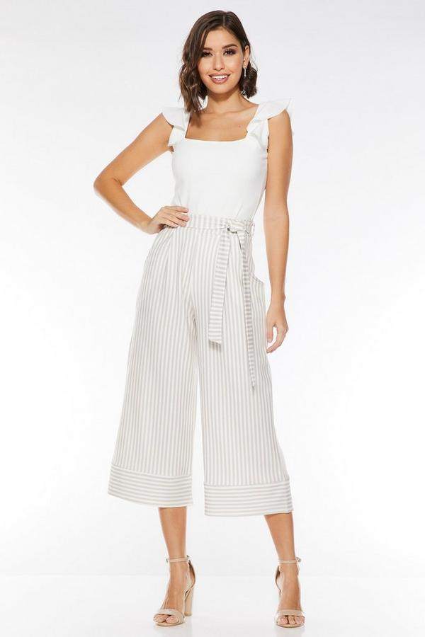 Stone And Cream Culotte Trousers