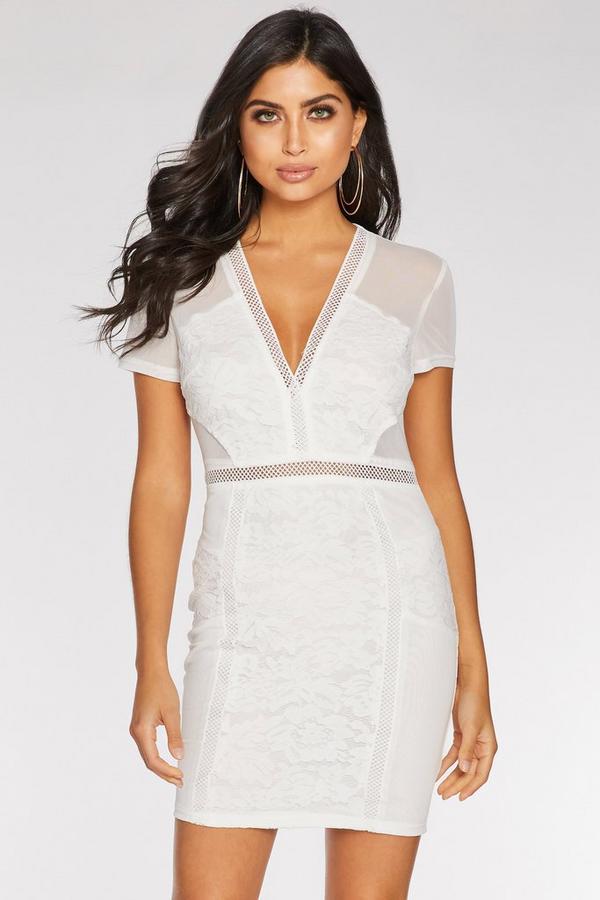 Cream Lace Mesh V Neck Sleeveless Bodycon Dress