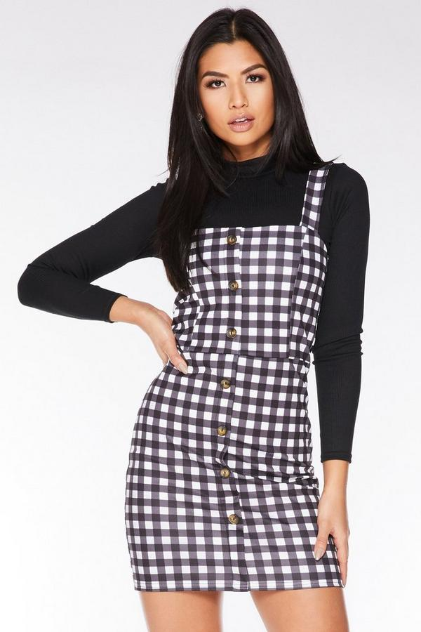 Black And White Gingham Bodycon Dress