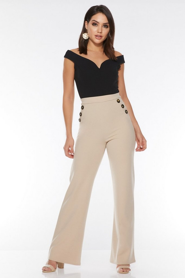 Stone Button Palazzo Trousers