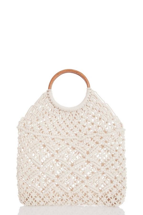 Cream Crochet Circle Handle Bag