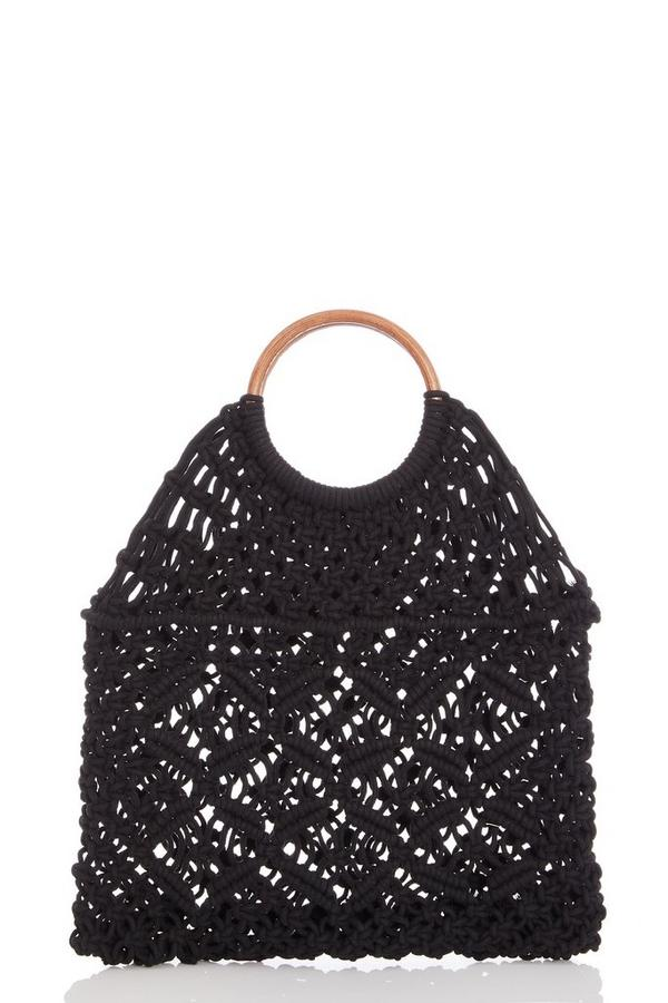 Black Crochet Circle Handle Bag