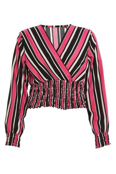 Pink and Black Stripe Long Sleeve Crop Top