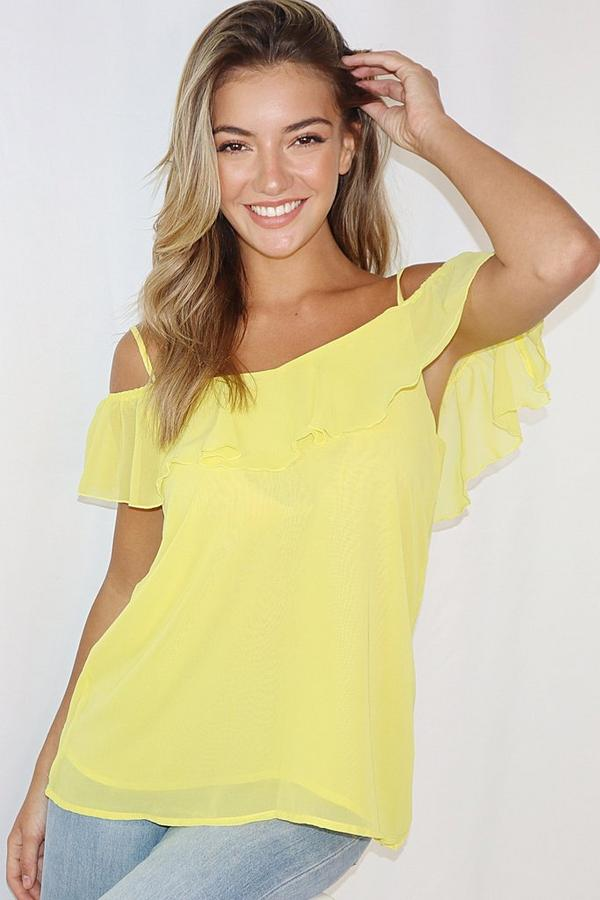 Yellow Cold Shoulder Frill Top