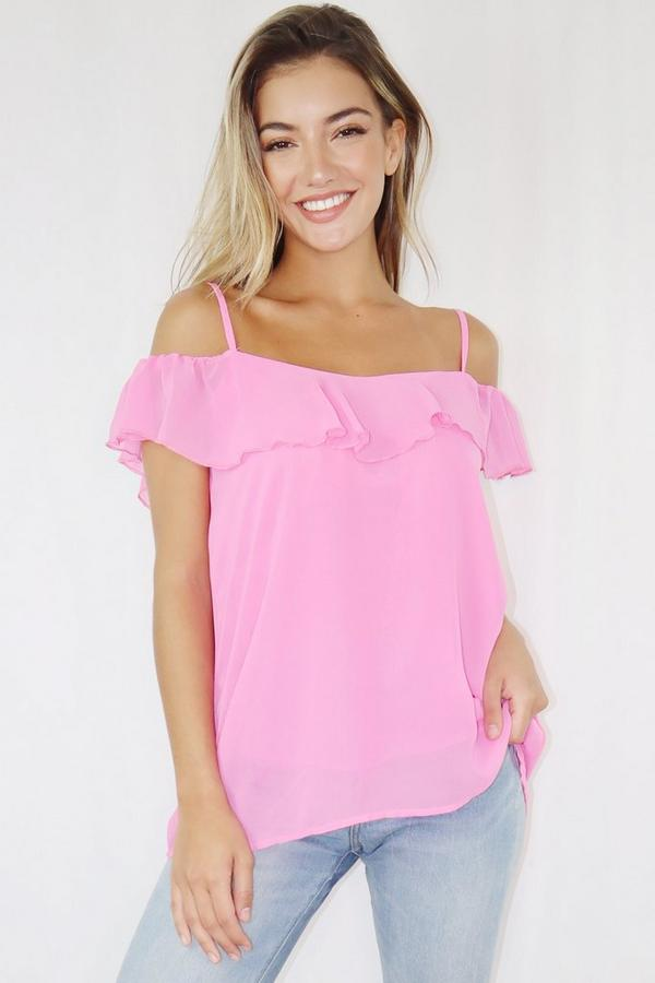 Pink Cold Shoulder Frill Top