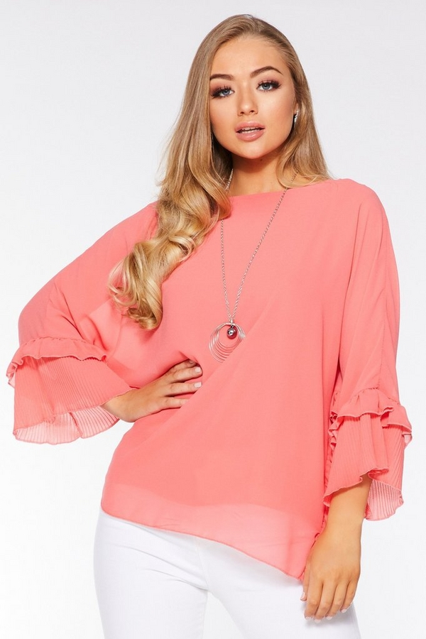Coral Chiffon Floral Batwing Necklace Top