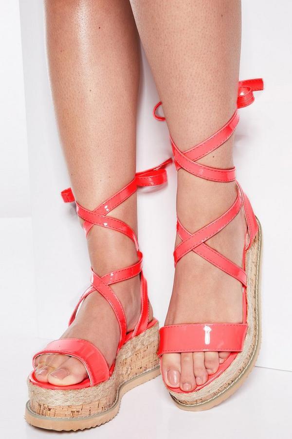 Neon Pink Tie Up Flatforms