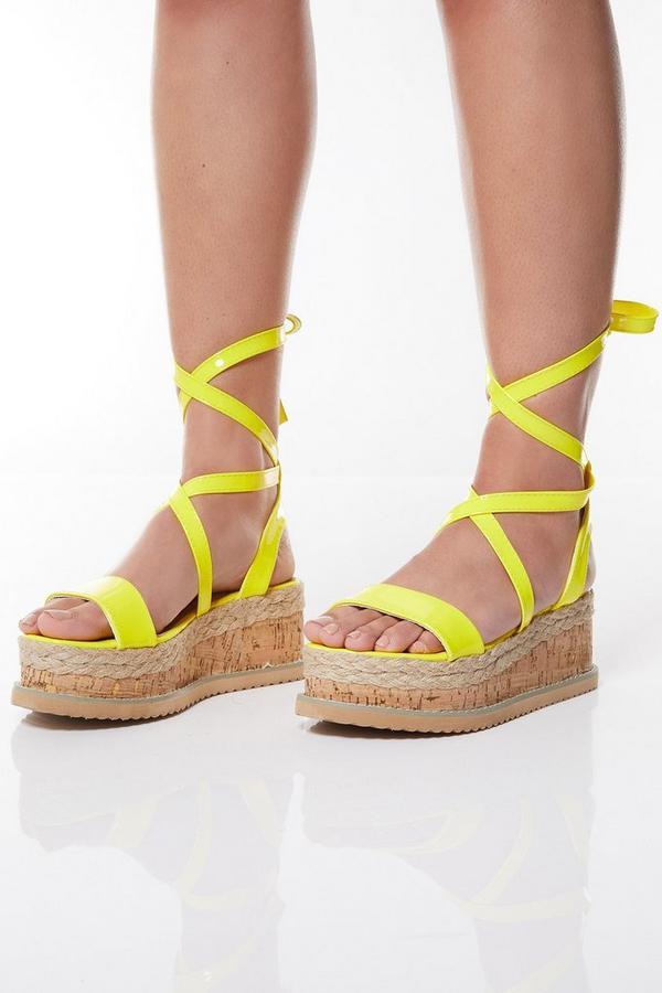 Neon Yellow Tie Up Flatforms