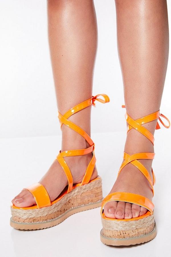 Neon Orange Tie Up Flatforms