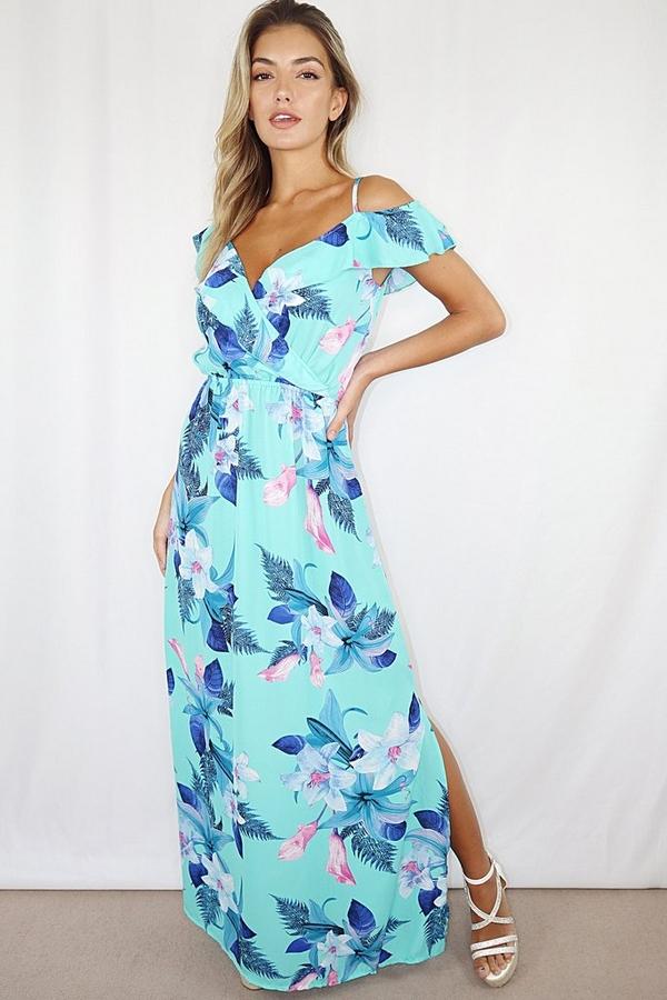Aqua and Pink Floral Cold Shoulder Maxi Dress