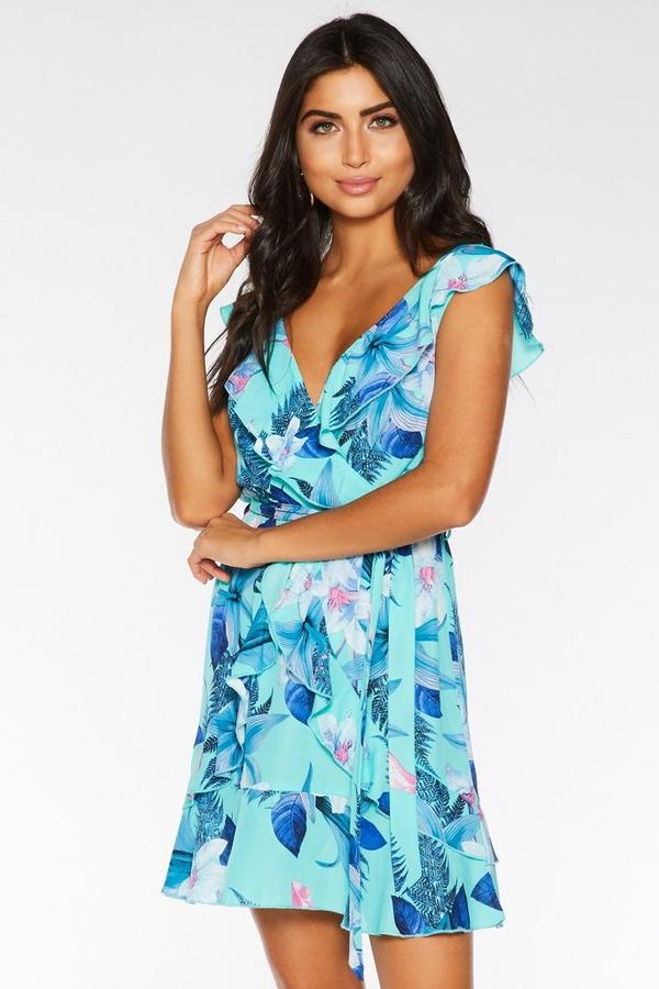 Aqua and Pink Floral Wrap Dress
