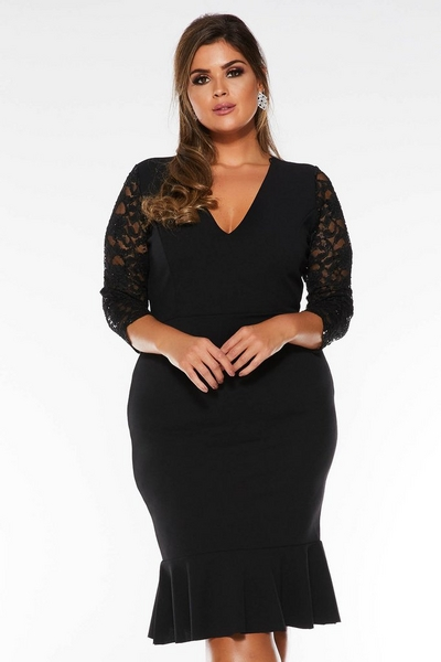 Curve Black Sequin Lace 3/4 Sleeve Midi Dress