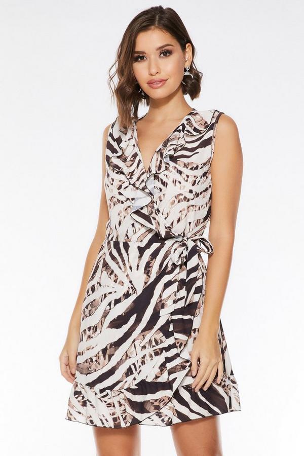 Brown And Stone Sleeveless Wrap Dress